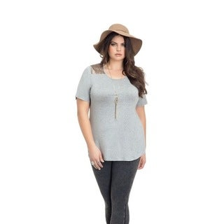 Full Figured Fashionista Women's Plus Size Sequin Yoke Tee in Grey