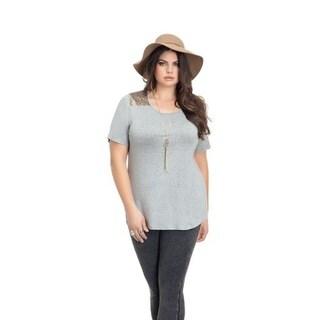 Full Figured Fashionista Women's Plus Size Sequin Yoke Tee in Grey