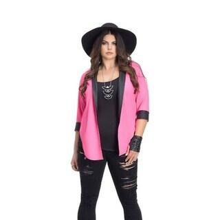 Full Figured Fashionista Women's Plus Size Tuxedo Blazer in Hot Pink and Black