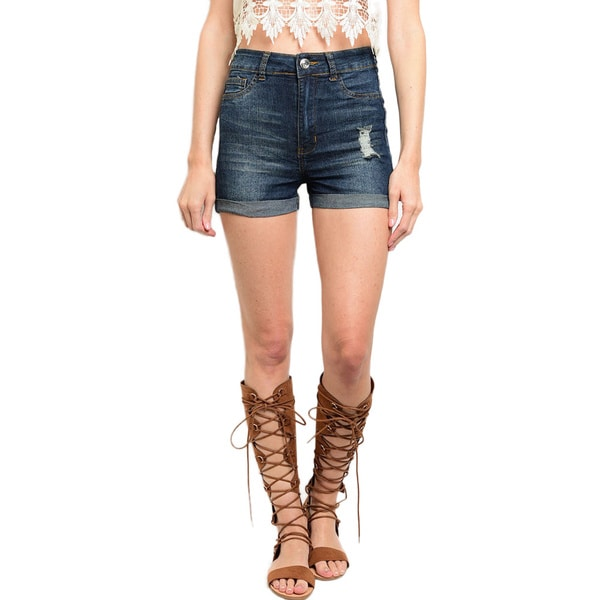 Shop the Trends Women's High Waisted Denim Shorts With Cuffed Hem