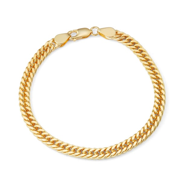 Gioelli Goldplated Sterling Silver Thick Double Curb Chain Bracelet