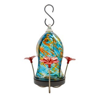 Twisted Jewel Hummingbird Feeder in Blue and Orange