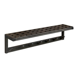 New Ridge Home Beaumont Espresso Solid Birch Wood Large Peg Rack with Shelf