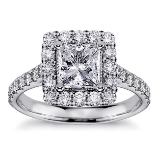 Platinum 2 1/10ct TDW Square Halo Princess-cut Diamond Engagement Ring (G-H, SI1-SI2)