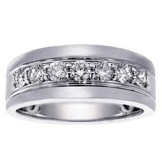 Men's Platinum 1ct TDW Brilliant Cut Satin Finish Diamond Ring