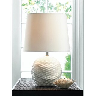 Textured White Ceramic Table Lamp