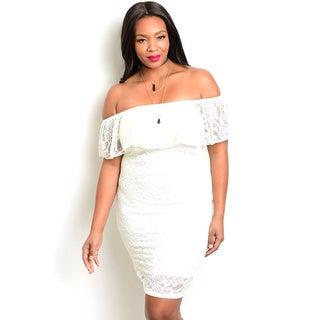 Shop the Trends Women's Plus Size Off The Shoulder Lace Dress With Flounce Layer Along Neckline
