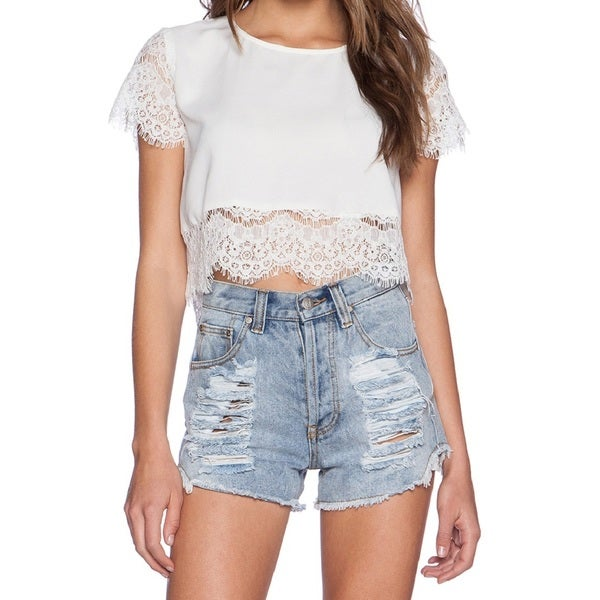 Minkpink Atlanta White Lace Crop Top