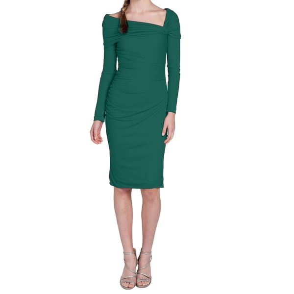 Badgley Mischka Emerald Green Ruched Dress