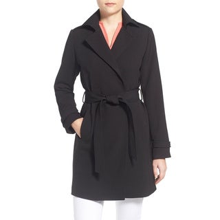 T Tahari Monica Black Crepe Trench Coat
