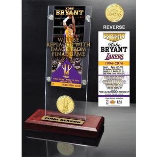 Kobe Bryant 'Final Season' Ticket & Bronze Coin Acrylic Desk Top