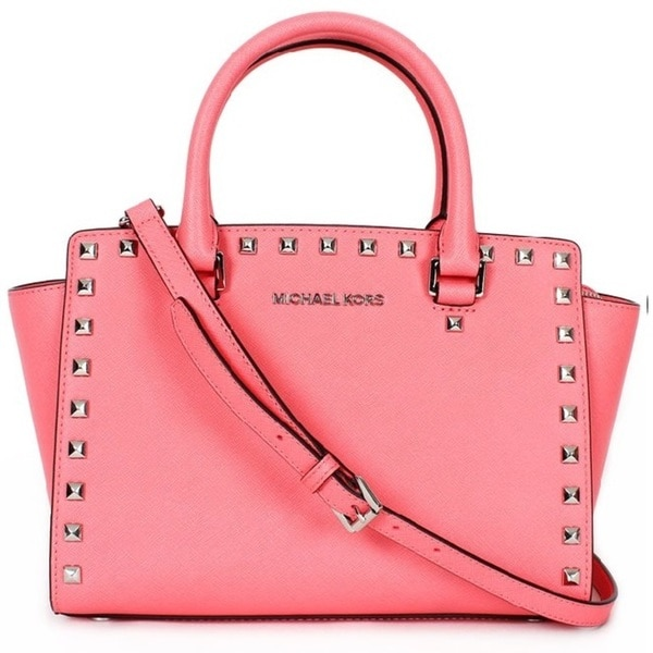 Michael Kors Selma Stud Medium Coral Top Zip Satchel Handbags