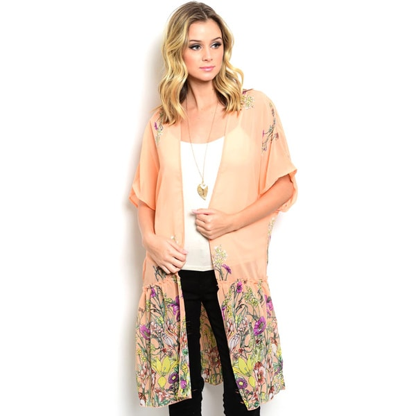 Shop the Trends Women's 3/4 Sleeve Peach Chiffon Kimono Cardigan