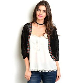 Shop the Trends Women's 3/4 Sleeve Lace Kimono
