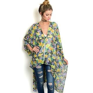 Shop the Trends Women's 3/4 Batwing Sleeve Sheer Kimono