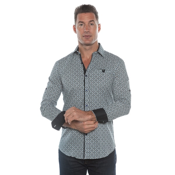 Isaac B. Blue/ Black Long Sleeve Button Down Shirt