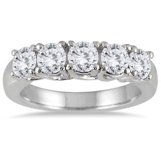 Marquee Jewels 14k White Gold 2ct TDW Prong Set 5-stone Diamond Wedding Band (J-K, I2-I3)
