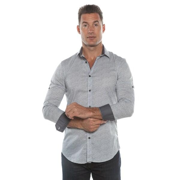 Isaac B. White/ Blue Long Sleeve Button Down Shirt
