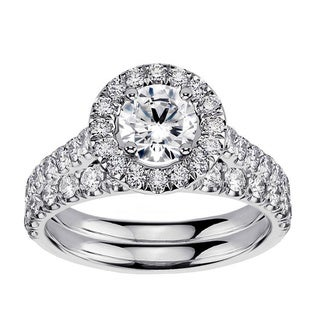 Platinum 2 3/5ct TDW Diamond Engagement Ring Bridal Set (G-H, SI1-SI2)