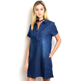 Shop the Trends Women's Short Sleeve Denim Shift Dress