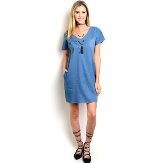 Shop the Trends Women's Short Sleeve Chambray Denim Dress