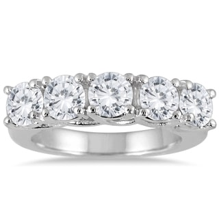 Marquee Jewels 14k White Gold 3ct TDW Prong 5-stone Diamond Wedding Band (J-K, I2-I3)