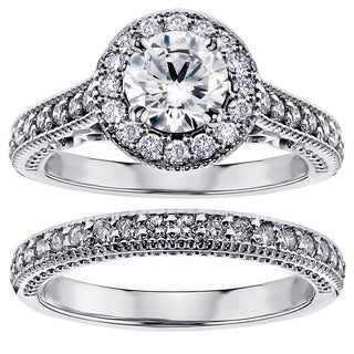 Platinum 1 2/5ct TDW Diamond Halo Bridal Set (G-H, SI1-SI2)