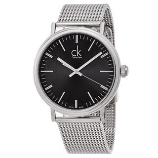 Calvin Klein Men's K3W21121 'Surround' Black Dial Stainless Steel Mesh Swiss Quartz Watch