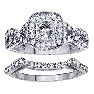 Platinum 2 3/4ct TDW Clarity Enhanced Princess Diamond Bridal Ring Set (G-H, SI1-SI2)