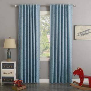 Aurora Home Children's Twinkling Metallic Star Curtain Panel (Set of 2)