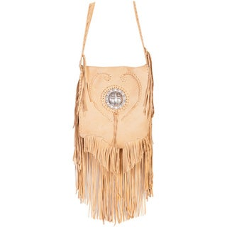 Scully Leather Beige Full Flap Fringe with Concho Shoulder Handbag