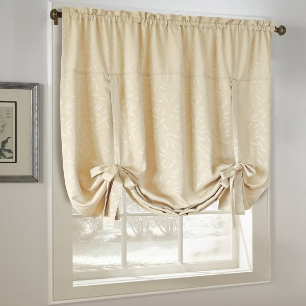 All Over Leaf Jacquard Adustable Tie-Up Window Shade