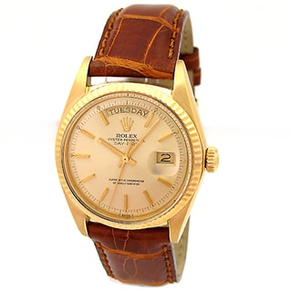Pre-owned Rolex 18k Yellow Gold Brown Leather 1803 Vintage Perpetual Daydate Oyster Watch