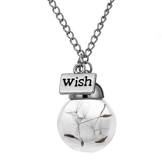 Dandelion Wish Globe Necklace with Real Seeds