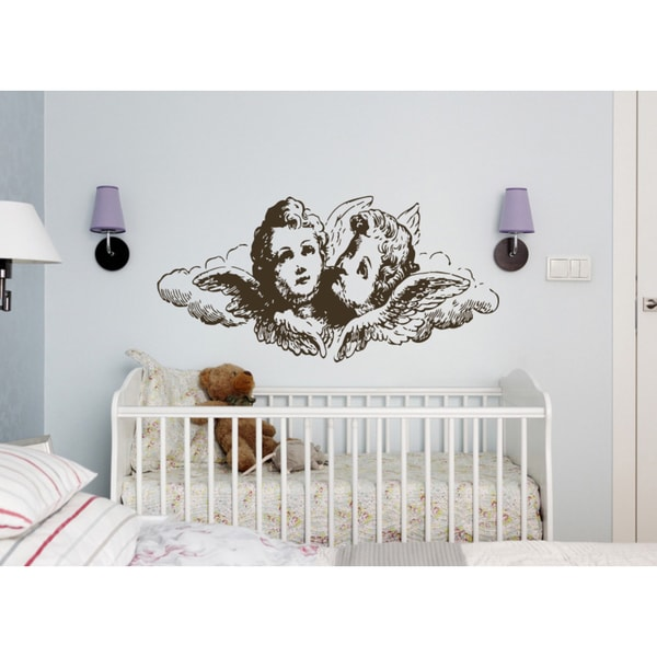 The charming angels Wall Art Sticker Decal Brown