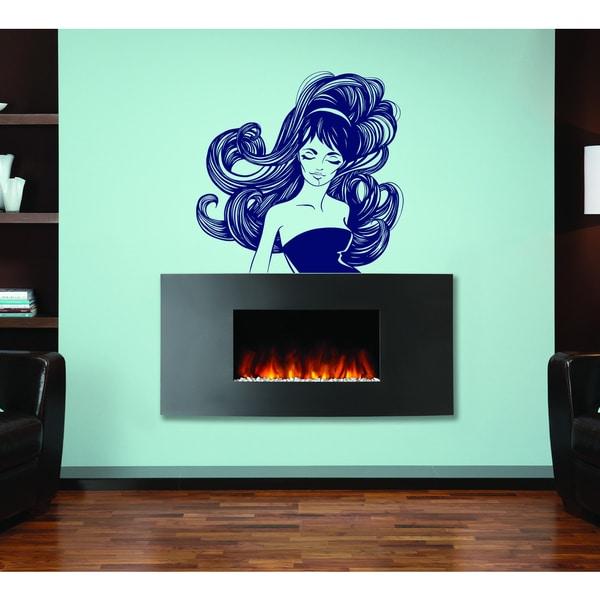 Beauty salon beautiful hair Wall Art Sticker Decal Blue 18218653