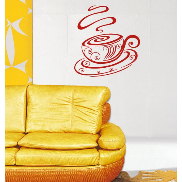 Beautiful mug Wall Art Sticker Decal Red