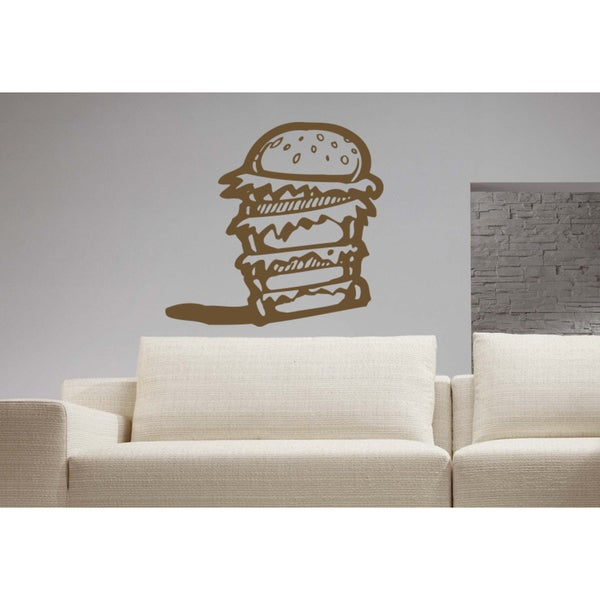 Burger meal Wall Art Sticker Decal Brown
