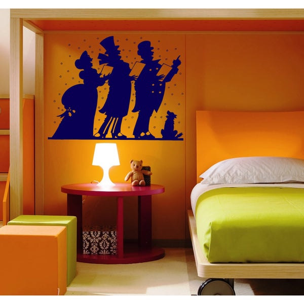 Singing people Wall Art Sticker Decal Blue