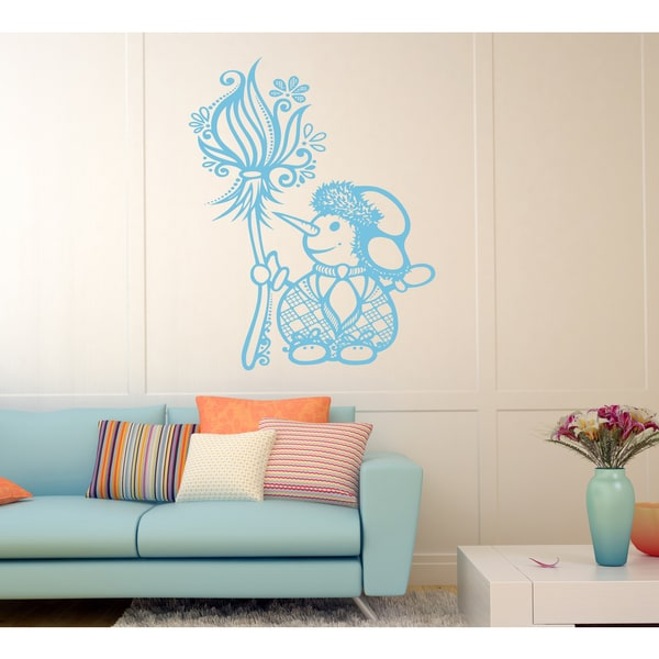 Funny snowman Wall Art Sticker Decal Blue