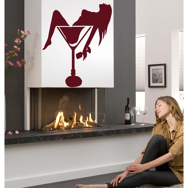 A lover of parties woman Wall Art Sticker Decal Red