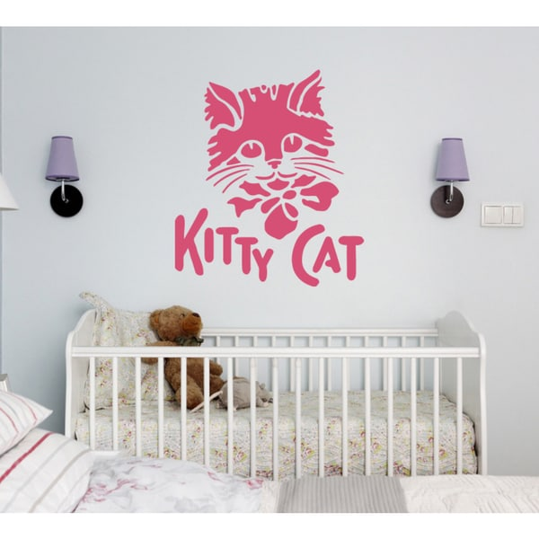 kitten inscription Wall Art Sticker Decal Pink