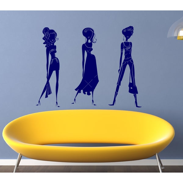 Beautiful model girl fashion Wall Art Sticker Decal Pink Blue