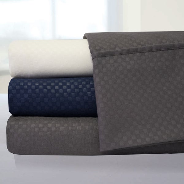 Incredibly Soft Embossed Checkered 4-piece Sheet Set