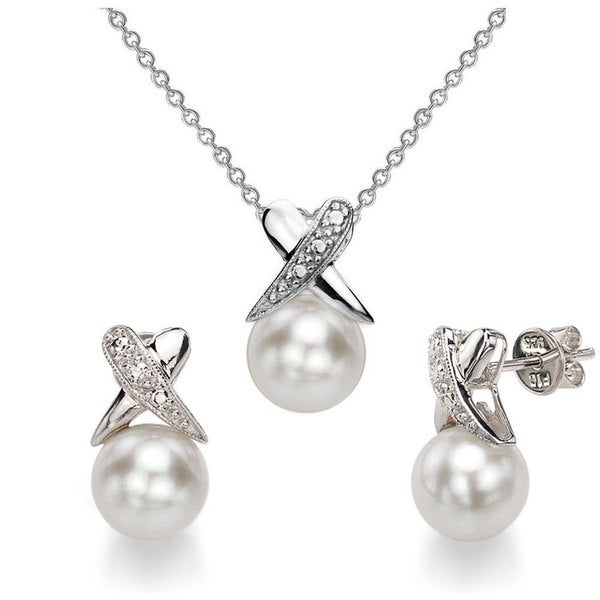 DaVonna Sterling Silver 8-9mm White Freshwater Cultured Pearl Pendant and Earrings Set 18221852