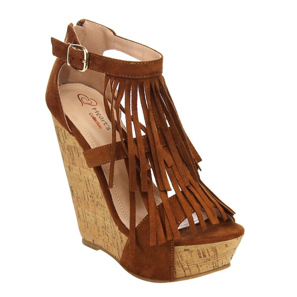 I HEART COLLECTION Fringe Platform Wedges