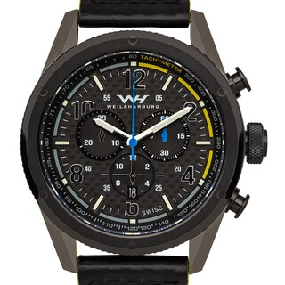 Weil & Harburg Peake Mens Swiss Chronograph Carbon Fiber Dial Carbon Fiber Leather Strap Superluminova Watch