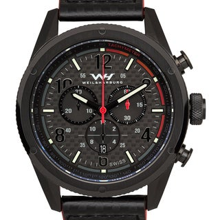 Weil & Harburg Men's Swiss Chronograph Carbon Fiber Leather Strap Superluminova Watch