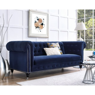 Hanny Navy Blue Velvet Nailhead Trim Tufted Sofa