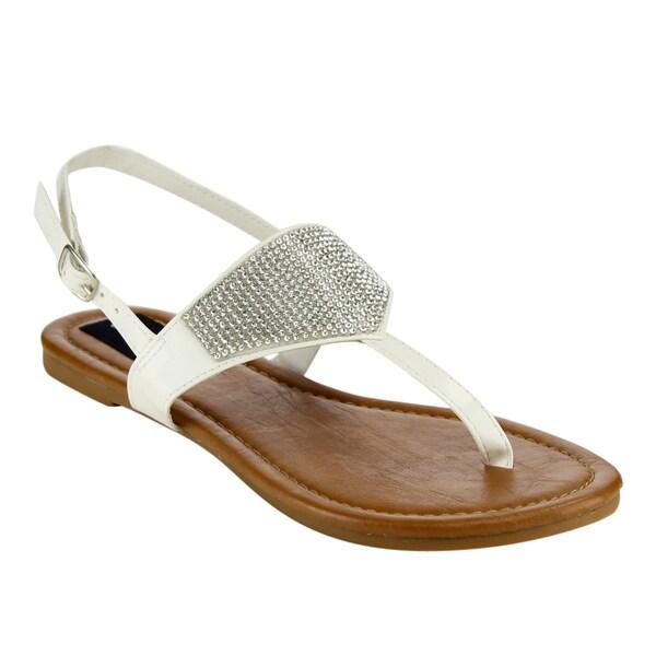 Olivia Miller Rhinestone T-Strap Flat Sandals